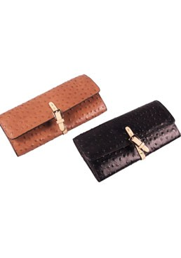 Ostrich Waxed Leather Wallet